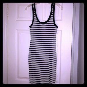 H&M black and white striped maxi dress